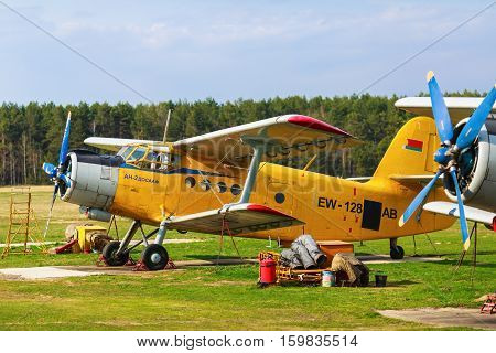MINSK BELARUS - APRIL 25 2015: The Antonov An-2 is a Soviet mass-produced single-engine biplane utility agricultural aircraft designed and manufactured by the Antonov Design Bureau beginning in 1946.