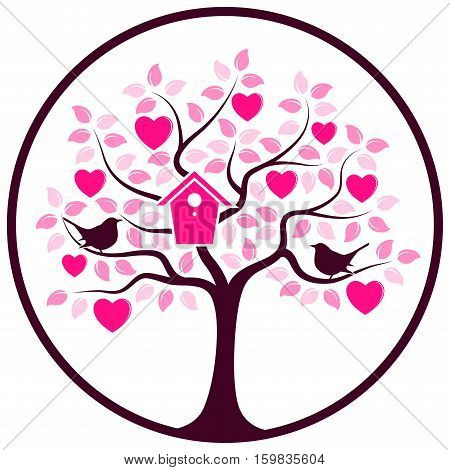 vector heart tree with nesting bird box and couple of birds in round isolated on white background