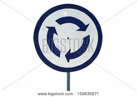 Grung traffic roundabout sign isolated on white