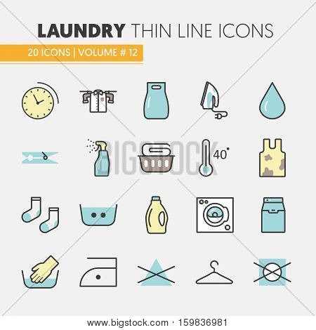 Laundry Service Thin Line Vector Icons Set with Laundrette Elements