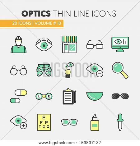 Optician Thin Line Vector Icons Set with Optometry Technology and Eyeglasses