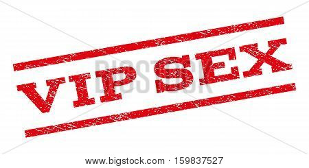 Vip Sex watermark stamp. Text caption between parallel lines with grunge design style. Rubber seal stamp with unclean texture. Vector red color ink imprint on a white background.