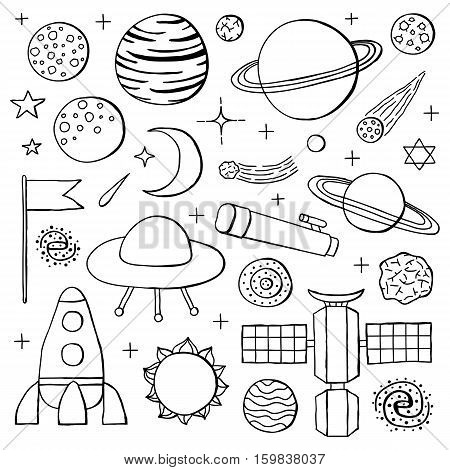 Set of hand drawn outline space icons including planets, stars, rocket, ufo, satellite, asteroid, moon, flag, telescope, sun, galaxy isolated on white background.