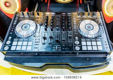 Dj Console Cd Mp4 Deejay Mixing Desk Music Party In Nightclub