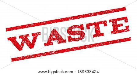 Waste watermark stamp. Text caption between parallel lines with grunge design style. Rubber seal stamp with scratched texture. Vector red color ink imprint on a white background.