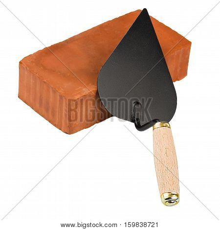 Brick and trowel isolated on white background