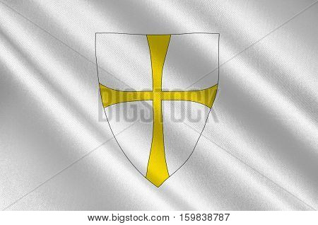 Flag of Nord-Trondelag is a county constituting the northern part of Trondelag in Norway. 3d illustration