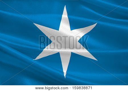 Flag of Steinkjer is a city and municipality in the Nord-Trondelag county Norway. 3d illustration