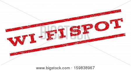Wi-Fi Spot watermark stamp. Text caption between parallel lines with grunge design style. Rubber seal stamp with dirty texture. Vector red color ink imprint on a white background.