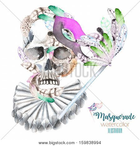 Skull with watercolor feathers in medieval collar and mask illustration in Venetian style, hand drawn isolated on a white background