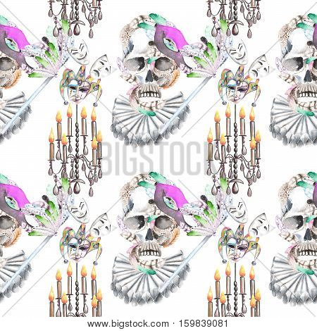 Masquerade theme seamless pattern with skulls, chandeliers with candles and masks in Venetian style, hand drawn on a white background
