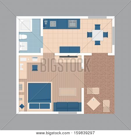 Vector flat projection apartment. Small house plan with furniture. Colorful illustration.