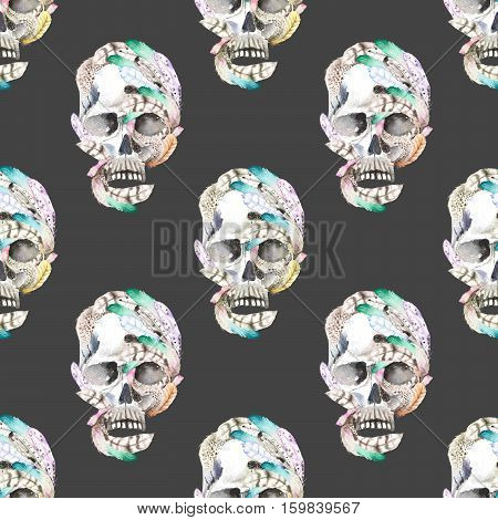 Masquerade theme seamless pattern with skulls in feathers, hand drawn on a dark background