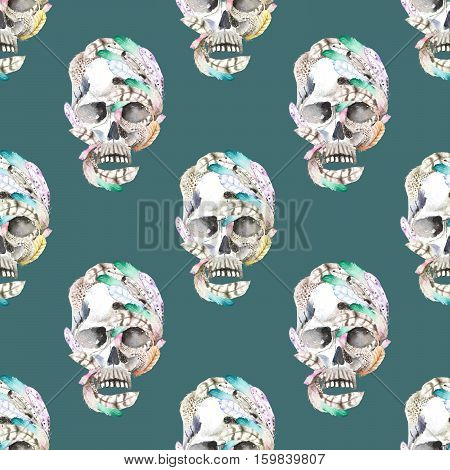 Masquerade theme seamless pattern with skulls in feathers, hand drawn on a dark blue background