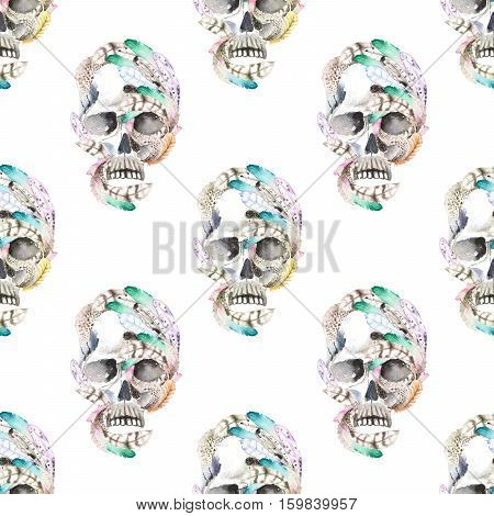 Masquerade theme seamless pattern with skulls in feathers, hand drawn on a white background