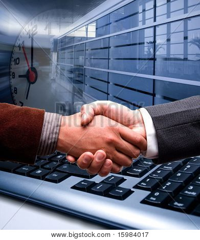e-commerce handshake on technology background