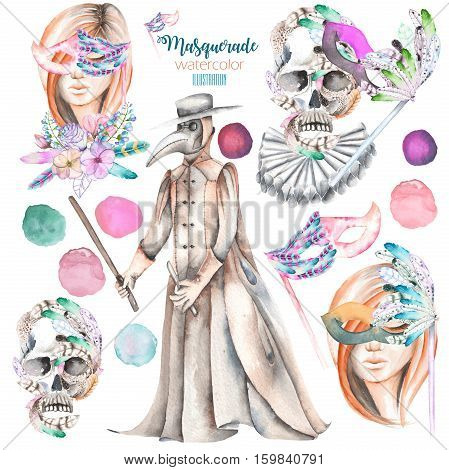 Masquerade theme set with female images in masks, design skulls in Venetian style and plague doctor, hand drawn isolated on a white background