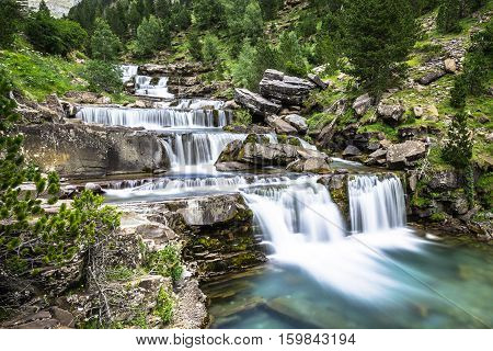 Gradas de Soaso. Waterfall in the spanish national park Ordesa and Monte Perdido Pyrenees