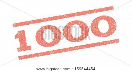 1000 watermark stamp. Text tag between parallel lines with grunge design style. Rubber seal stamp with dirty texture. Vector salmon color ink imprint on a white background.