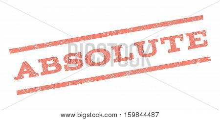 Absolute watermark stamp. Text caption between parallel lines with grunge design style. Rubber seal stamp with dust texture. Vector salmon color ink imprint on a white background.