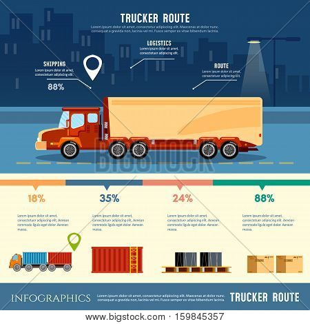 Cargo delivery infographic cargo service. Shipping warehouse elements. Trucking industry banner trucker route Logistics and the city vector illustration