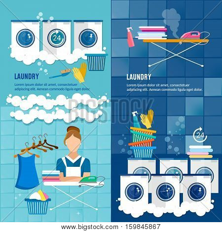 Laundry room with washing machine ironing board clothes rack household chemistry cleaning washing powder and basket. Laundry service banner dry cleaning clothes banner.