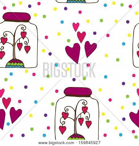 Seamless pattern with glass jar with a tree with hearts inwardly. Vector illustration.
