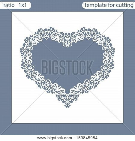 Laser cut wedding invitation card template. Cut out the paper card with lace pattern. Greeting card template for cutting plotter. Frame in the shape of a heart. Photo frame are laser cut. Vector.