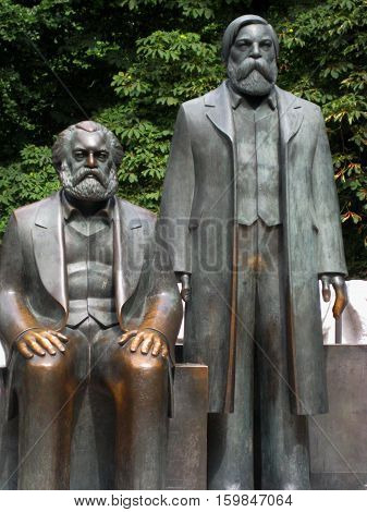 photo of historical monument to Karl Marx and Friedrich Engels in Berlin in Germany
