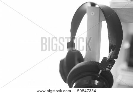 Hifi Headphones on a Shelf in Black and White
