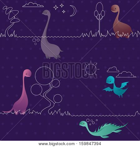 Dinosaurs. Cute funny lovely dino seamless pattern. Animals