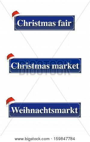 Christmas market signs with a Santa Claus hat