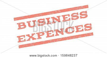 Business Expences watermark stamp. Text tag between parallel lines with grunge design style. Rubber seal stamp with dirty texture. Vector salmon color ink imprint on a white background.