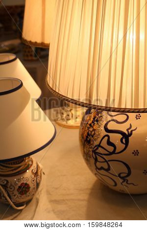 beige ceramic lamps from beige textile lampshade