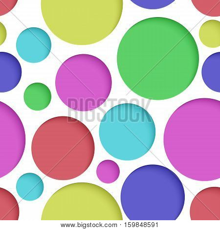 Seamless texture - colored paper cut circles. Background for web bunner cards e-mail etc.