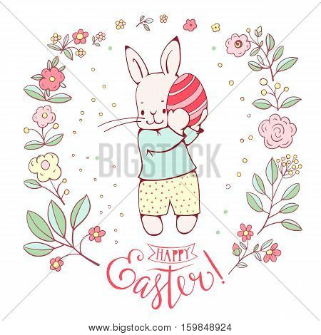 Easter card. White Easter Bunny with egg. Hand Lettering