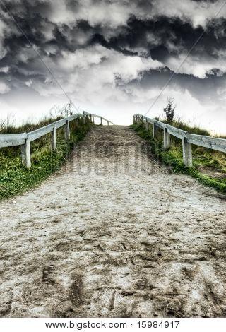 Dirt road and dramatic skies HDR
