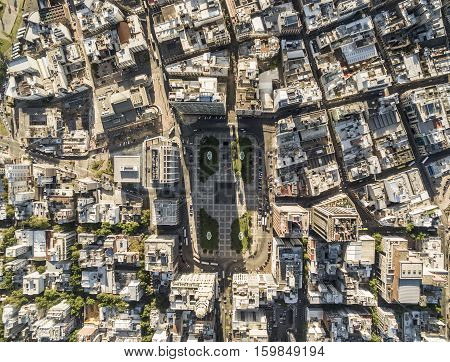 Montevideo Uruguay - November 18 2016: Salvo Palace building a national icon view of the Independence Square from above