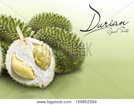 Durian on green solid background with text