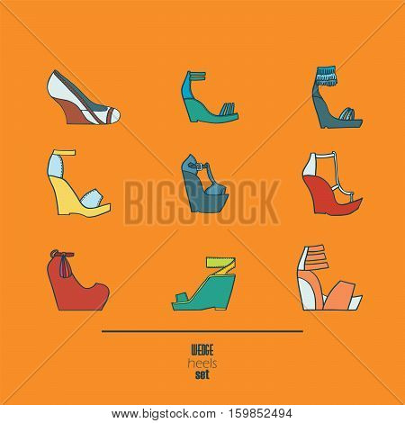 Lovely set with stylish fashion shoes hand drawn and isolated on orange background. Vector illustration showing various wedge high heels sandals. Creative collection in different colors.
