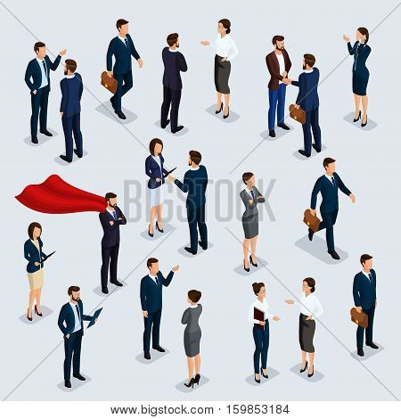 People Isometric 3D isometric businessmen and business woman business clothes human movement. The people in the crowd talking brainstorming. Concept isolated on a light
