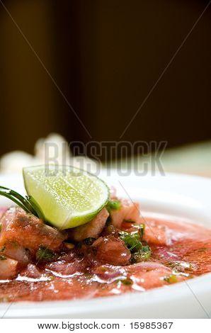Ecuadorian food series: shrimp with fish ceviche