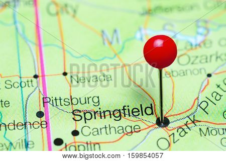 Springfield pinned on a map of Missouri, USA