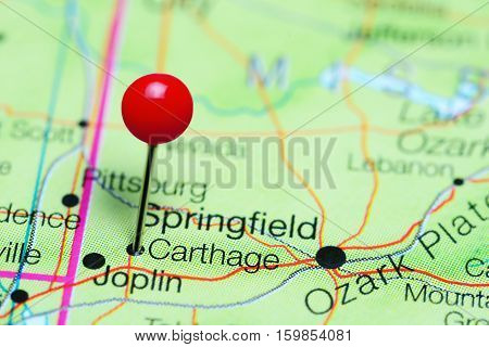 Carthage pinned on a map of Missouri, USA