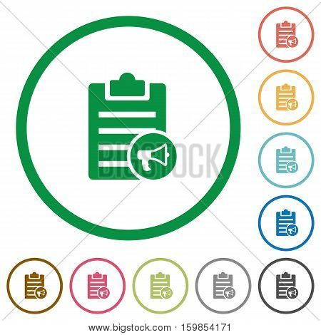 Note reading aloud flat color icons in round outlines