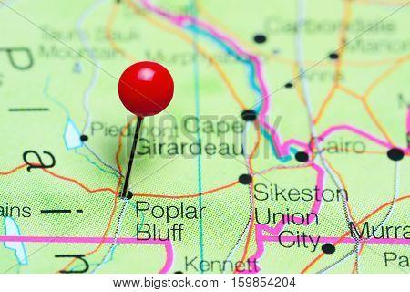 Poplar Bluff pinned on a map of Missouri, USA