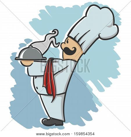 Nice Chef serving the dish cartoon illustration