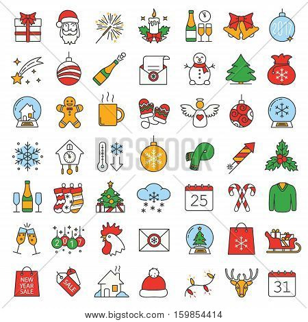 Christmas and New Year color icons set. Candy canes, champagne bottle and glasses, Santa Claus letter, rooster, snowflake, sparkler. Isolated vector illustration