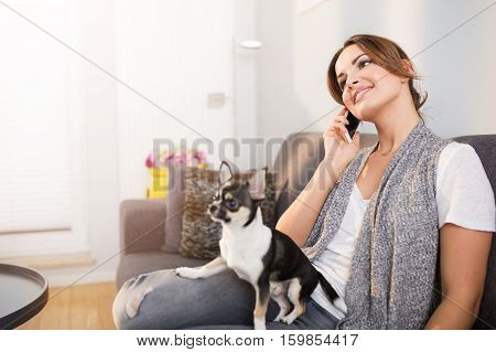 Pretty Woman And Her Dog