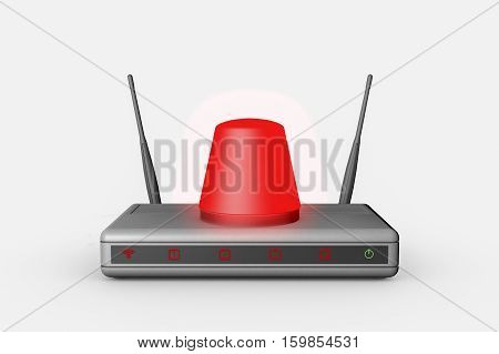 An internet wireless router is attacked (3d rendering)